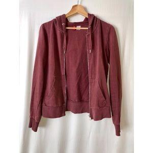 H&M maroon zip jacket hoodie